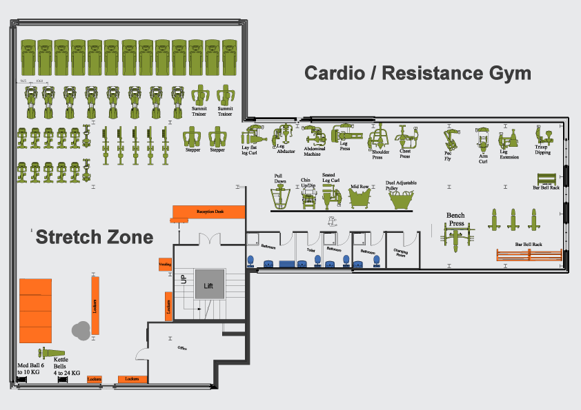 Oakley fitness gym plan for Gym floor plan design